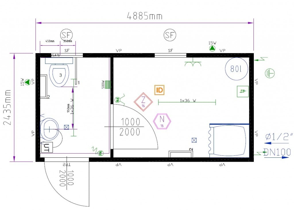 Shower Cabin on Cubicle Layout Options