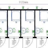 Six Cubicle Unisex Shower Cabin