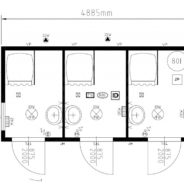 Three Cubicle Unisex Shower Cabin
