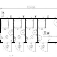 Four Cubicle Unisex Shower Cabin