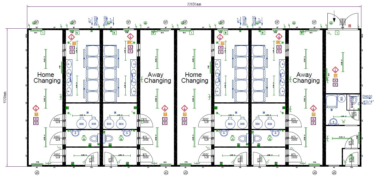 Large Modular 4 Team Changing Rooms With Officials Changing Room Physio Medical Room