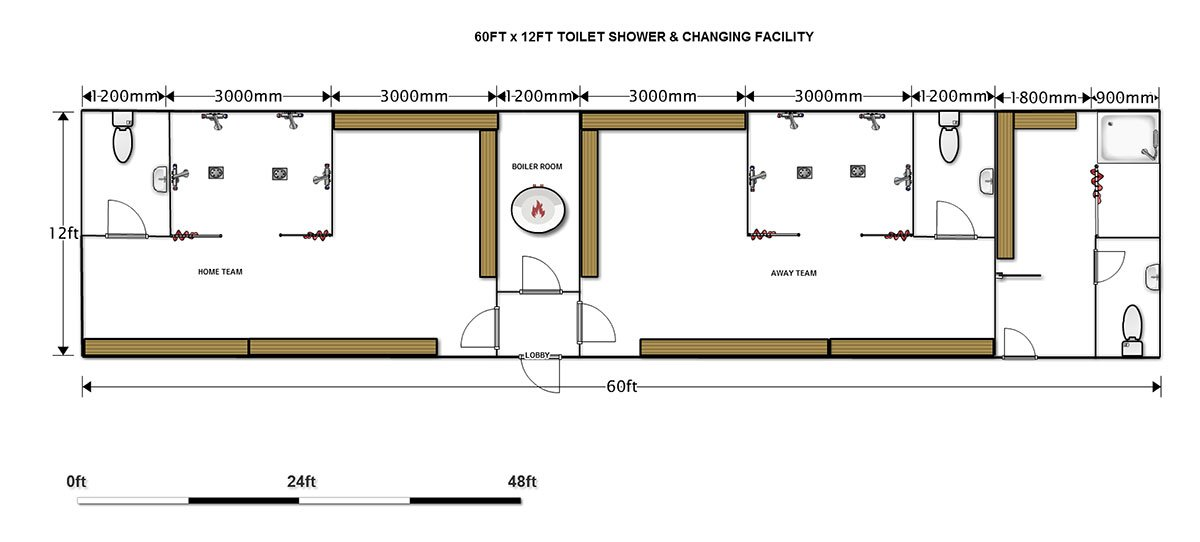 18.3m X 3.6m 2 Team Changing Rooms With Separate Facility For Officials.