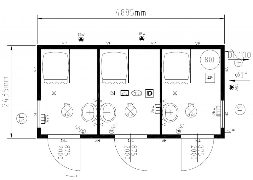 Three Cubicle Unisex Shower Cabin Sports Changing Rooms