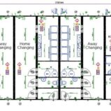 Large Modular 4-Team Changing Rooms with Officials Changing Room + Club Area + Kitchen and Club Toilets