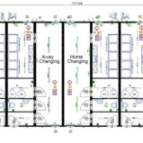 Large Modular 4-Team Changing Rooms with Officials Changing Room + Physio/Medical Room