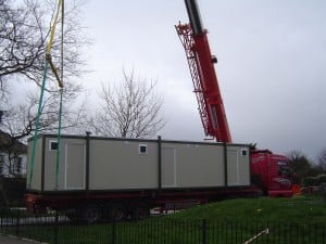 Crane Installation of New Changing Room Cabin